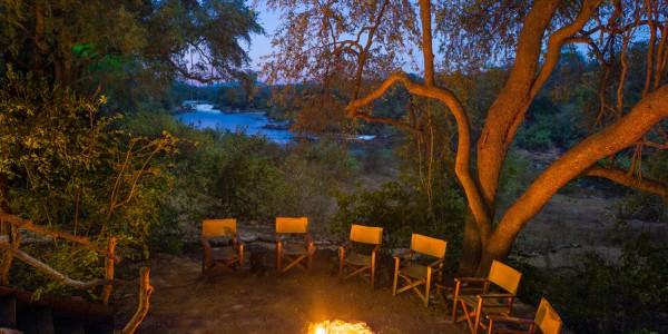 Malawi - Majete Wildlife Reserve - Mkulumadzi Cottage - Campfire (credit Robin Pope Safaris)