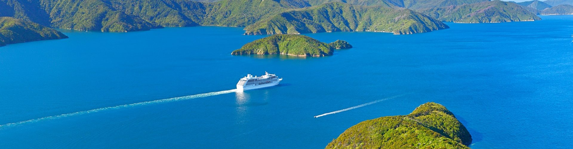 Cruise ship in Marlborough Sounds, New Zealand. credit Rob Suisted
